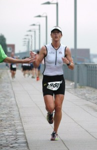 Sandra beim Waterfront-Triathlon